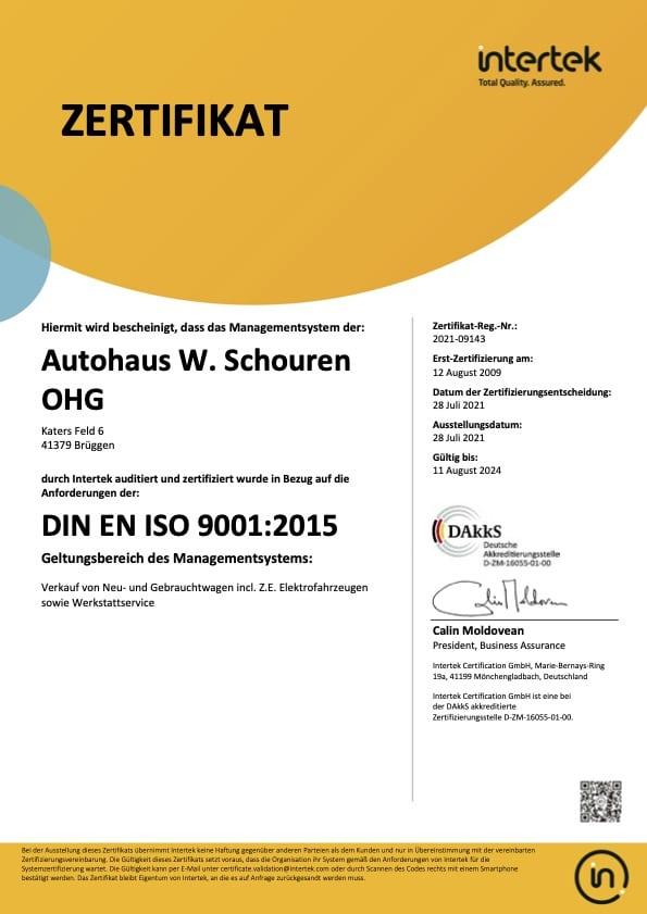 DIN EN ISO 9001 2015 Managementsystem Autohaus Schouren
