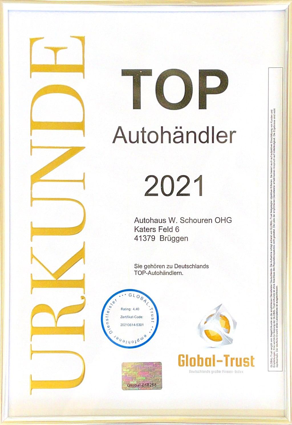 Urkunde Top Autohändler 2021 Autohaus Schouren