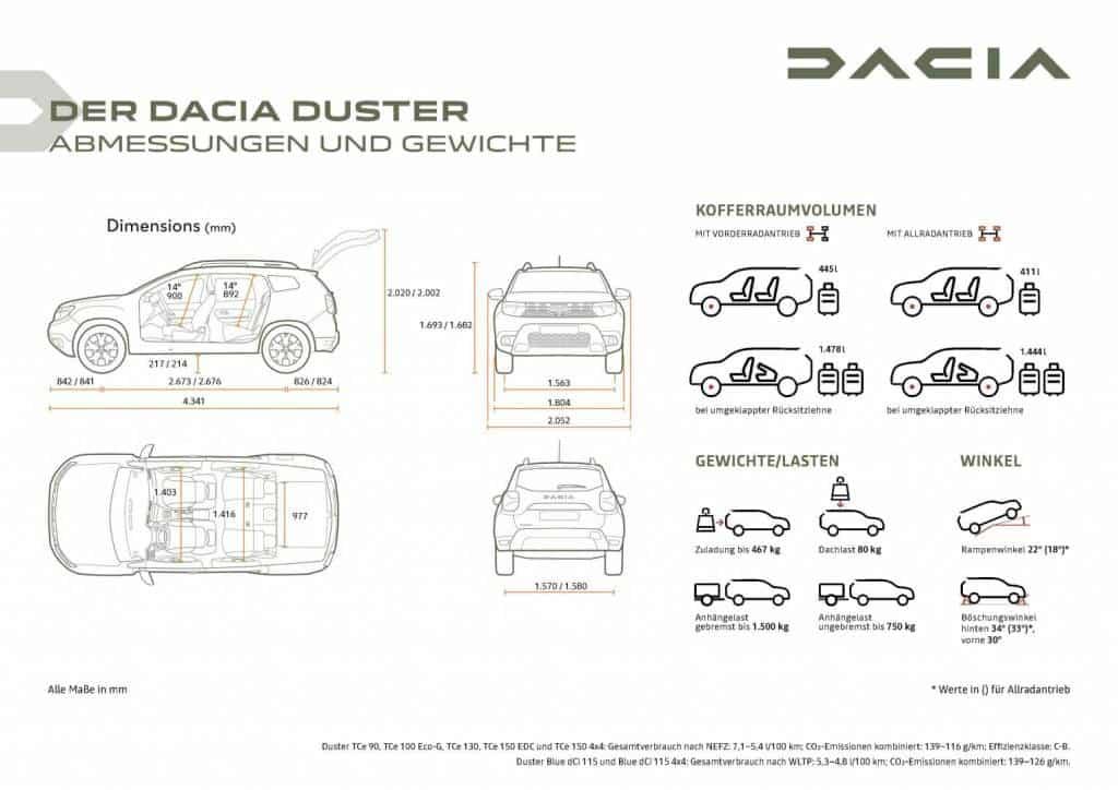 Abmessungen und Gewichte des Dacia DUSTER Autohaus Schouren