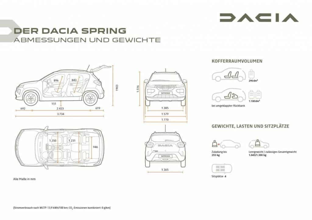 Abmessungen und Gewichte des Dacia SPRING Autohaus Schouren