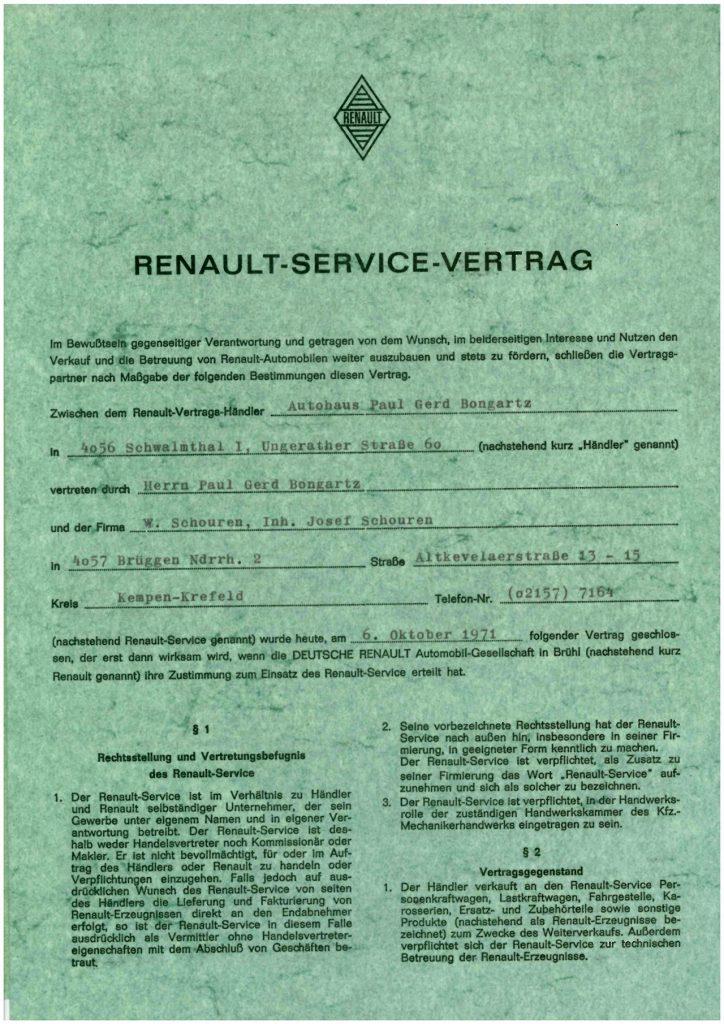 Händlervertrag von Renault