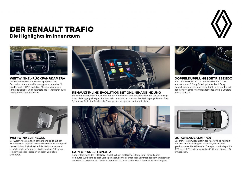 Renault TRAFIC Highlights im Innenraum Autohaus Schouren
