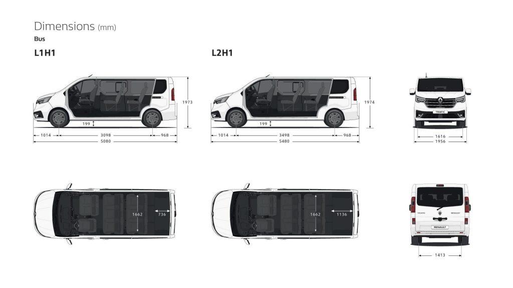 Maße und Dimensionen des Renault TRAFIC Combi Bus Autohaus Schouren