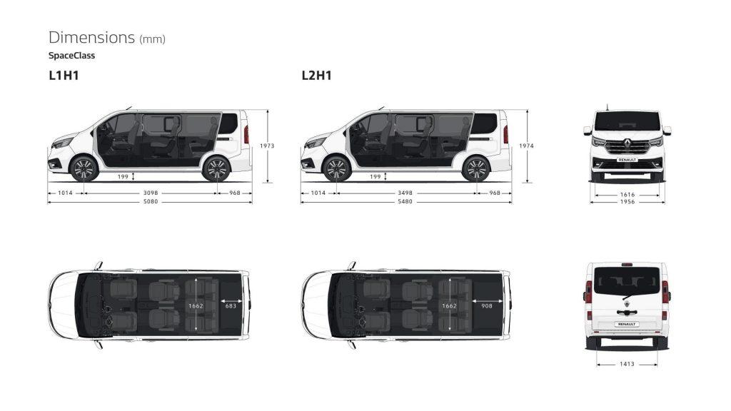 Maße und Dimensionen des Renault TRAFIC SpaceClass Autohaus Schouren